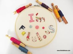 Textile word art I'm Fabulous Embroidery hoop art by ThimbleHoop