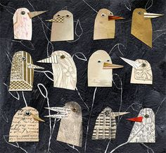 birds I have known 1, birds, bird heads, gold birds, mixed media birds, mixed…