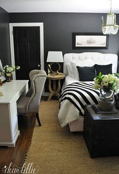 Dear Lillie: Guest Bedroom http://hackthehut.com/35-office-space-living-room-fitting-suggestions/