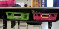 Organizational Idea for Team Teaching-Have students keep their things in baskets inside their desk.