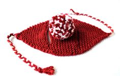Pom Pom Cat Hat Red Crimson and White Hand Knit Cat