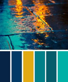 Dark blue ,teal and yellow color palette