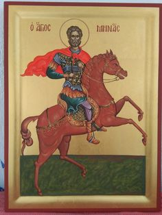 Άγιος Μηνάς / Saint Menas Religious Images, Religious Art, Byzantine Icons, Orthodox Icons, Saints, Religion, Comic Books, Horses, Sf