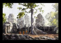 AQUARELLE DU CAMBODGE – GUILLAUME BONAMY ART