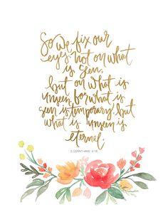 Hand Lettered Art Print 2 Corinthians 4:18 von AprylMade auf Etsy