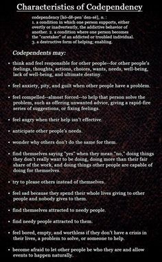 """Characteristics of Codependency- Emotional Vampires love codependents. They make easy targets to """"claim"""" and use for what they want/ will take from them."""
