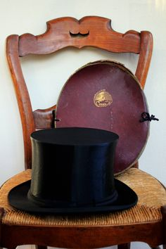 french edwardian retractable silk top hat with its original box, antique steampunk fashion accessories from the early 1900 by LaChineuseFrancaise on Etsy