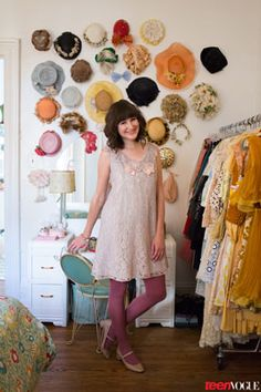 Antique Hat Wall!!  Tour the Super Sweet Apartment of Fancy Fine Blogger Ashley Ording