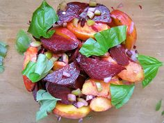 Roasted Beet and Peach Salad//4 beets 2 medium-sized peaches 1 shallot or ½ small onion, finely chopped ¼ cup sweet bell or cubano pepper, finely chopped ¼ cup beet stems, finely chopped (only use if crisp) 2–3 tablespoons olive oil Juice of 1 lemon Salt and pepper to taste Handful fresh basil leaves