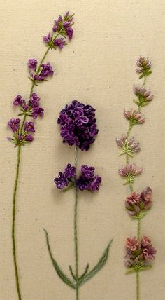 Beautiful hand embroidered lavender, dimensional stitches - so pretty!