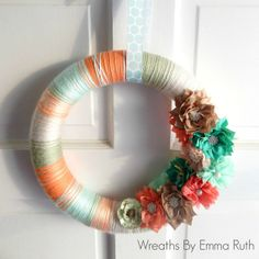 Spring Yarn Wreatn Peach, Orange, Tiffany Blue and Brown with lots of flower embellishments