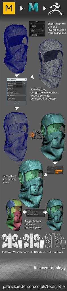 I created this asset for the 2017 ZBrush Summit. It was used to demonstrate a tool I made to speed up my process of converting simulated clothing meshes from Marvelous Designer for further detailing in ZBrush. You can download the tool for free from this link... https://ufile.io/gg06v (temporary mirror) http://patrickanderson.co.uk/tools/md_mesh_process/md_mesh_process.zip The process creates a final mesh with -High resolution drapery detail applied ...