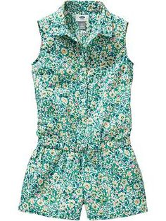 Girls Floral Sleeveless Rompers   Old Navy