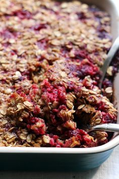 Baked Raspberry Oatmeal with Brown Butter Drizzle | Joanne Eats Well With Others