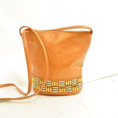 90s ORANGE STUDDED BAG / genuine leather / gold and silver geometric metal studs