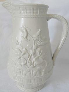 Copeland Parian Floral/Basketweave Jug Date Lozenge Feb 1864