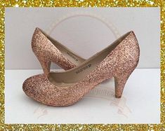 Rose gold bridal, Bridal glitter heels, Rose gold heels, Gold glitter bridal, Rose gold gift for her Rose Gold Glitter Heels, Rose Gold Shoes, Gold Heels, Glitter Nikes, Glittery Nails, Stiletto Heels, Gold Kitten Heels, Bridal Wedding Shoes, Vestidos