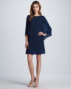 Odette Flutter-Sleeve Dress, Navy by Alice + Olivia at Neiman Marcus.