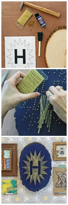 DIY Monogram String Art: HGTV's Weekday Crafternoon >> http://blog.hgtv.com/design/2013/04/02/weekday-crafternoon-diy-monogram-string-art?soc=pinterest