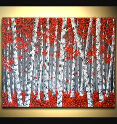 Red Birch Tree Painting Original Abstract Painting by ZarasShop