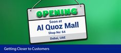 Al Quoz Mall Branch: Shop No: 64, Opposite to EIDA Near Rank Bank Tel: +971- 4- 3285400