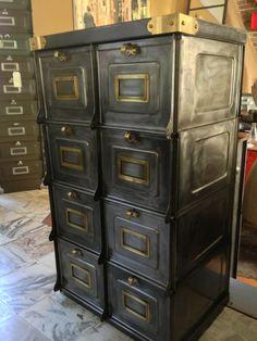 Magnifique meuble strafor datant de 1930 en patine graphite compos de 8 gra - Poignee de meuble vintage ...