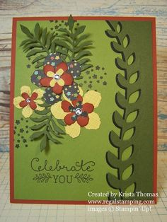 handmade card featuring Botanical Blooms die cuts .. luv the olives with lemon and adobe red ... Stampin' Up!