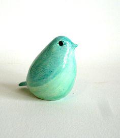 pottery bird aqua. $25.00, via Etsy.