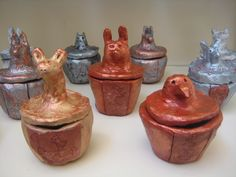 Grade 5 Ancient Eqyptian Canopic Jars created by students in Grade V at The Baldwin School. (crafts for kids aged Ancient Egypt Crafts, Egyptian Crafts, Egyptian Mummies, Ancient Art, Ancient History, Art History, Clay Projects For Kids, Art Projects, Art Lessons For Kids