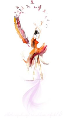 Ballerina dancer Original Watercolor Painting 13x19 ballet dance home… / Realistic Original Watercolor Painting bird feather artwork wall home…