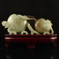 Vintage Chinese Hetian Jade Statue - Magpie & Peaches
