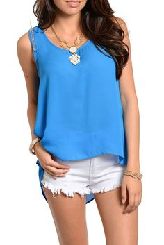 DHStyles Women's Blue Trendy Chiffon Beaded Shoulder High-Low Tank Top - Medium #sexytops #clubclothes #sexydresses #fashionablesexydress #sexyshirts #sexyclothes #cocktaildresses #clubwear #cheapsexydresses #clubdresses #cheaptops #partytops #partydress #haltertops #cocktaildresses #partydresses #minidress #nightclubclothes #hotfashion #juniorsclothing #cocktaildress #glamclothing #sexytop #womensclothes #clubbingclothes #juniorsclothes #juniorclothes #trendyclothing #minidresses…
