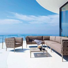 Shop Conic Single Seater Sectional by Cane-line. Scandinavian Minimalist Indoor and Outdoor Garden and Patio Furniture. Dining and Lounge Chairs, Sofas, Tables, Cushions.