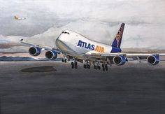 """""""Fire Island Approach"""" - original watercolor by Bob Thompson.  This commissioned painting depicts an Atlas Air 747-8 passing Fire Island, on approach to Anchorage.  Limited edition prints are available. 20% discount for Atlas Air employees and their families on giclée (paper) prints."""