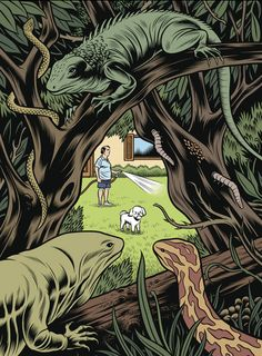 G: Behind the Jardines.    Soucer: Charles Burns. http://espantajerias.tumblr.com/post/19952631189/charles-burns#
