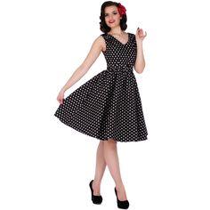 Wendy Retro Polka Dot Rockabilly Dress in Black
