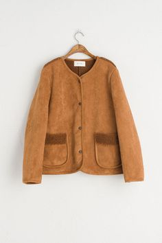 Two Pocket Round Neck Eco Shearling Jacket, Camel, 100% Polyester