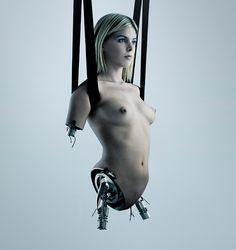 sci-fi art futuristic concept under construction cyborg girl digital art by benedict campbell.