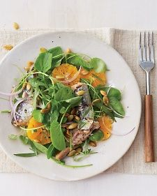 Watercress salad with Sardines and Oranges,  Wild-caught Pacific sardines, rich in healthy omega-3 fatty acids and vitamin B12, are one of the greenest fish choices you can make.