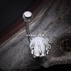 Moonstone Orb Shine Skeleton Hand Belly Button Ring – Piercing And Tattoo Daith Piercing, Bellybutton Piercings, Tattoo Und Piercing, Ear Piercings, Body Peircings, Belly Rings, Belly Button Rings, Belly Button Piercing Jewelry, Lobe