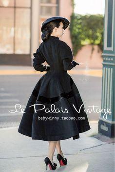 Le Palais Vintage Limited Elegant Slim Waist Fluffy Skirt Coat