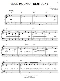 Blue Moon Of Kentucky - Bill Monroe  #sheetmusic