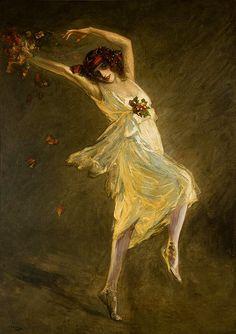 Anna Pavlova as a Bacchante by Sir John Lavery (1856-1941)      oil on canvas, 1910