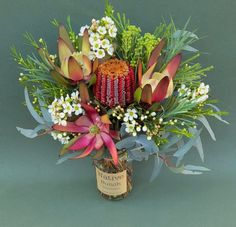 Native flower posy of Banksia coccinea, Waxflower, Leucadendrons, Emu grass & Berzillia Free delivery! Flowers For You, Bunch Of Flowers, Dried Flowers, Beautiful Flowers, Australian Native Garden, Australian Native Flowers, Sunflower Arrangements, Floral Arrangements, Bloom Baby