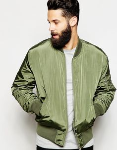 ASOS Bomber Jacket With MA1 Pocket In Green