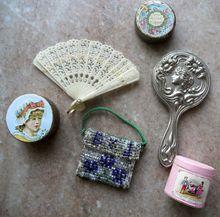 Antique French Fashion Doll Fan Mirror Purse Vanity Powder Tins