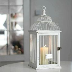 Birdcage Ivory White Candle Holder Hanging and Displaying