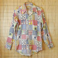 【OMAR】古着MIXプリント柄メンズ・レディース長袖ビンテージシャツ