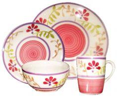 Gabrielle Bloom Pink Floral 16 Piece Dinnerware Set Service for 4