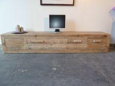 nieuw! zwevend tv-meubel van steigerhout met 6 laden, soepel, Deco ideeën